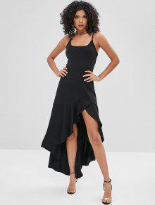 غير المتماثلة كامي Flounce فستان طويل - أسود S