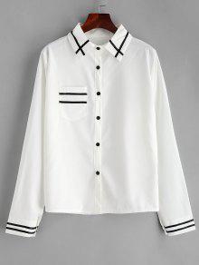 قميص بخطوط أمامية جيب - حليب ابيض 2xl