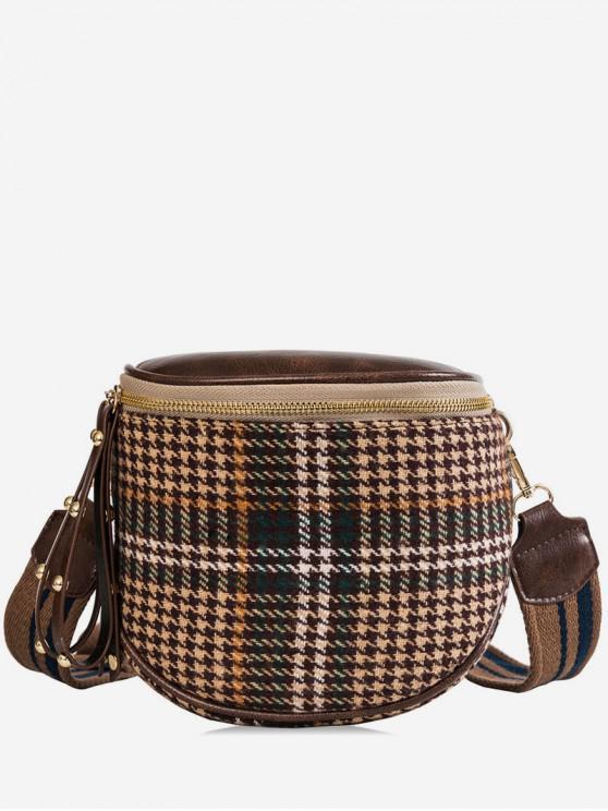 unique Houndstooth Wide Strap Shoulder Bag - DEEP COFFEE