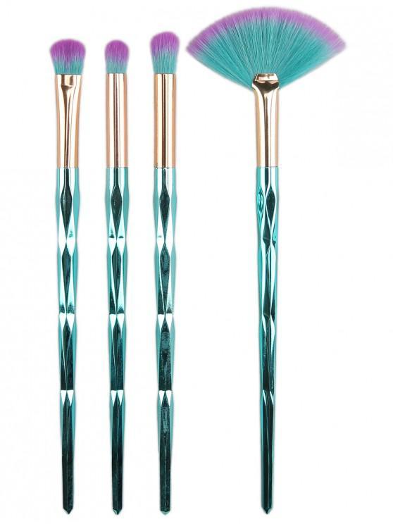 Ensemble de Pinceaux de Maquillage en Poil Ombré 4 Pièces - Bleu Vert Ara
