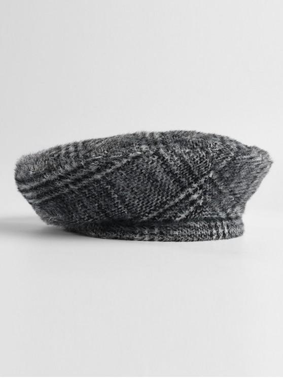 549c2ea65cf 20% OFF  2019 Knitted Fuzzy Houndstooth Pattern Beret Cap In BLACK ...