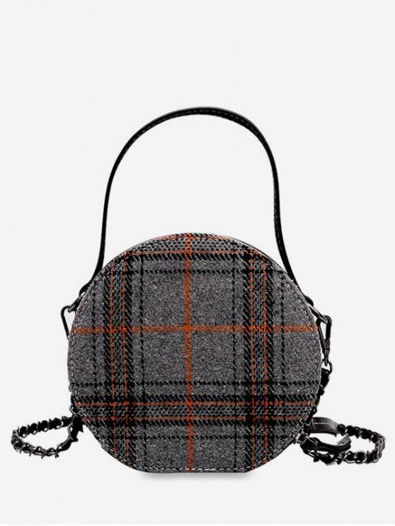 30% OFF  2019 Round Shape Tartan Pattern Crossbody Bag In GRAY