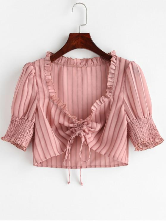 unique ZAFUL Shadow Striped Cinched Crop Blouse - PINK XL