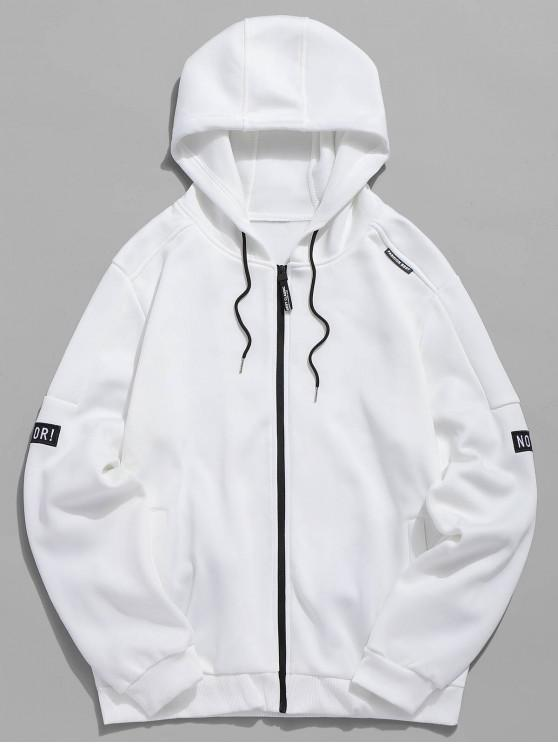 online Applique Zipper Casual Hoodie - WHITE S