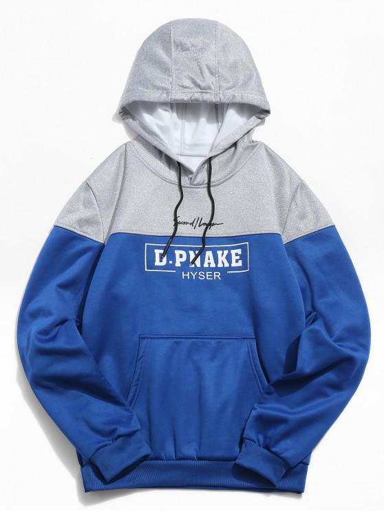 Felpa Pullover Stampata A Lettere Con Cappuccio E Tasca Frontale - Blu Mirtillo L