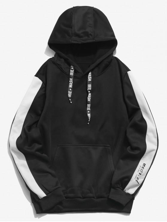outfit Letters Print Panel Pullover Hoodie - BLACK S