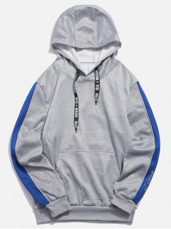latest Letters Print Panel Pullover Hoodie - LIGHT GRAY S