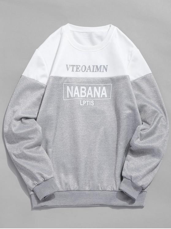 As letras imprimem a camisola do pescoço de grupo - Branco S
