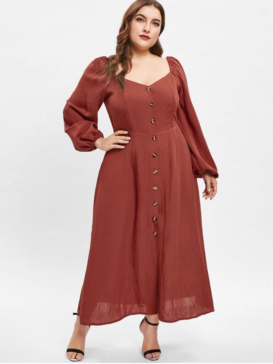 ZAFUL vestido de manga larga con cuello redondo y talla grande - Castaño Rojo 1X