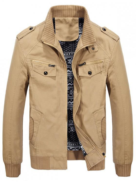 buy Belt Button Collar Pockets Jacket - KHAKI M