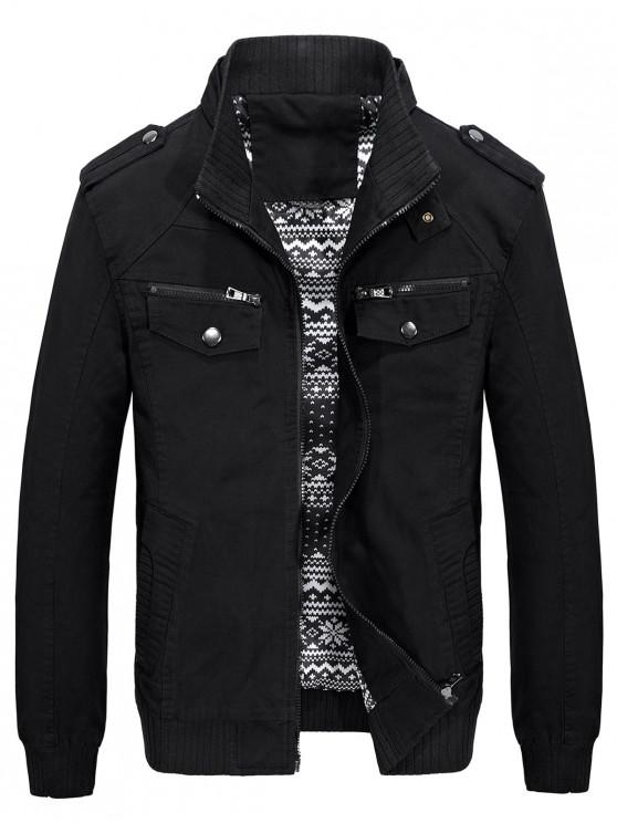 trendy Belt Button Collar Pockets Jacket - BLACK S
