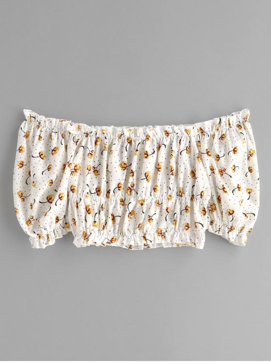 chic ZAFUL Floral Print Off Shoulder Crop Blouse - WHITE S
