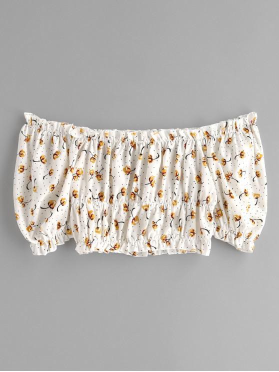 ZAFUL estampado floral de la blusa de la cosecha del hombro - Blanco XL