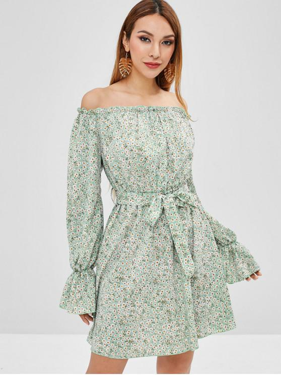 6c727327a859 43% OFF  2019 ZAFUL Daisy Off Shoulder Mini Dress In MULTI