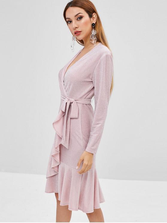 women Surplice Glitter Long Sleeve Flounce Dress - SAKURA PINK M