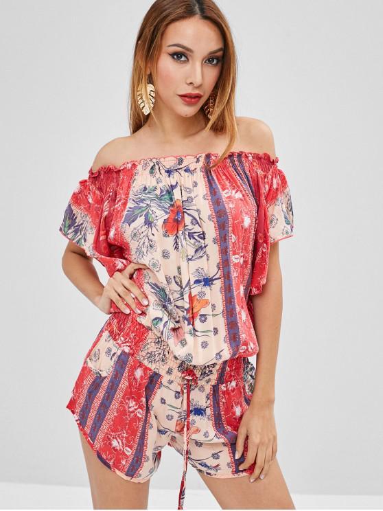 affordable Off Shoulder Smocked Floral Print Romper - RED L