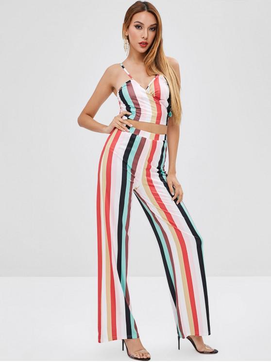 Top Cami E Pantaloni Larghi A Righe - Multi Colori S