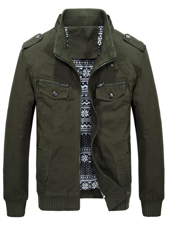 women Belt Button Collar Pockets Jacket - ARMY GREEN XS