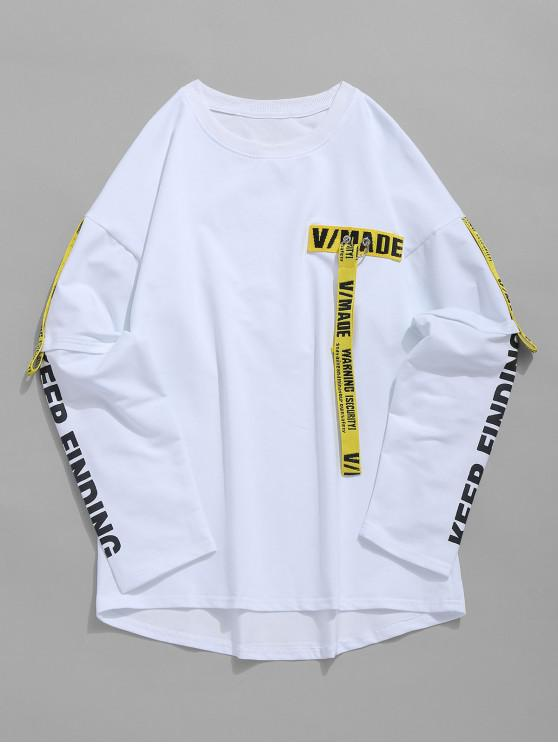 lady Woven Belt Decoration Patchwork T-shirt - WHITE XL