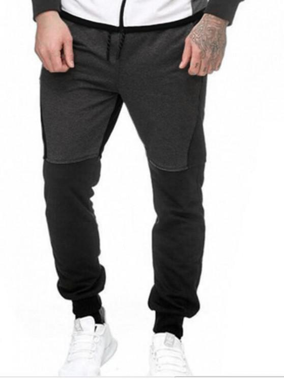Pantalones Lana Empalme Bloque Color y Cordones - Gris M