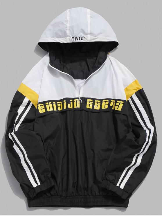 best Contrast Letter Windbreaker Pullover Jacket - BLACK L