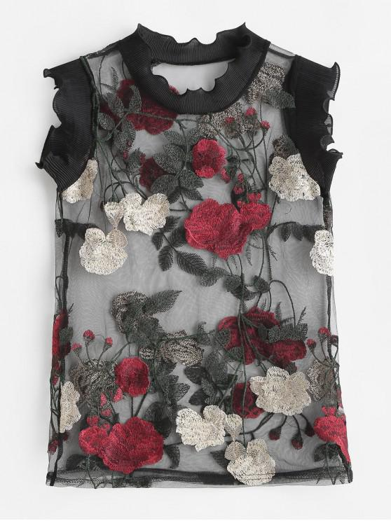 hot See Through Floral Embroidered Tank Top - BLACK S