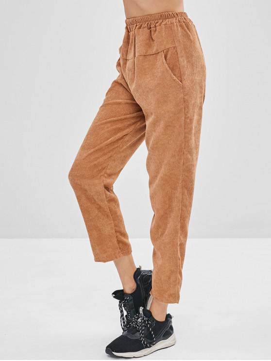 Pantalones casuales de pana de bolsillo - Camel Marrón XL