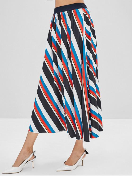 hot High Waist Contrast Striped Maxi Skirt - MULTI S
