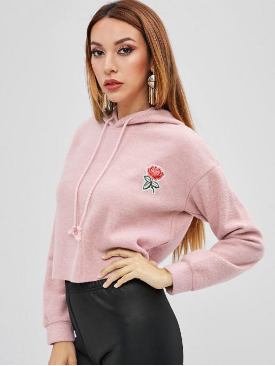 Sweat à Capuche Fleuri Applique - Rose  L