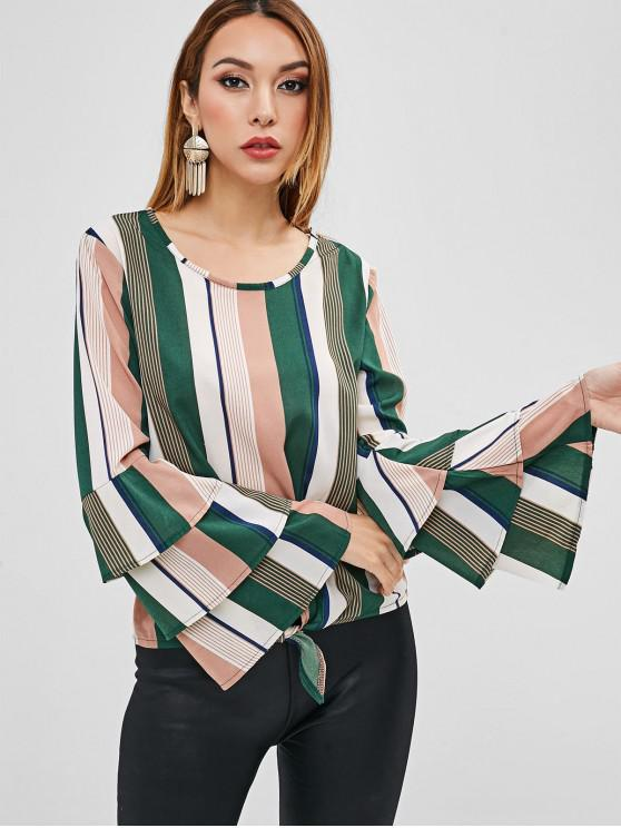 chic Striped Tie Bell Sleeve Blouse - GREEN M