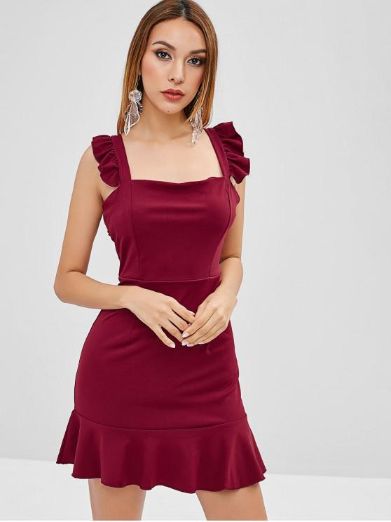 affordable Ruffled Mini Party Dress - RED WINE M