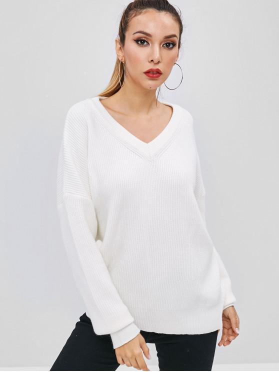 online Drop Shoulder Oversized V Neck Sweater - MILK WHITE ONE SIZE