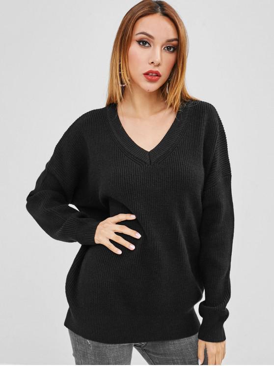 Drop Hombro suéter de cuello en V de gran tamaño - Negro Talla única