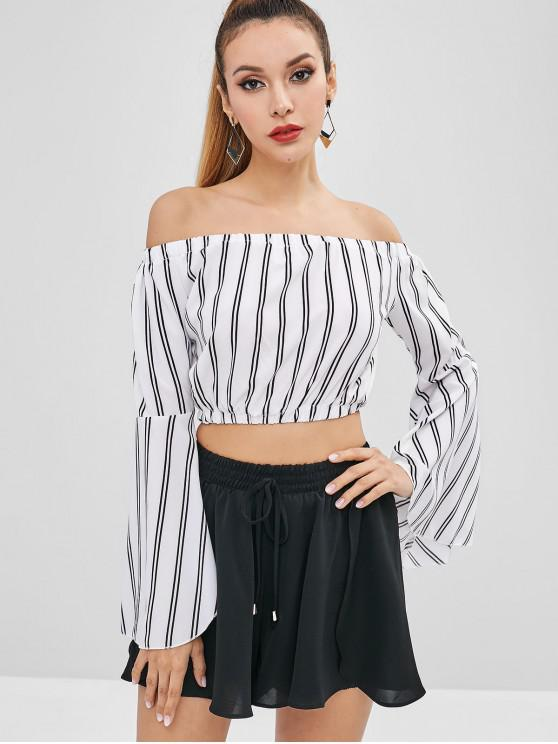 62bc7b4b85e870 28% OFF  2019 Flare Sleeve Striped Off Shoulder Blouse In MILK WHITE ...