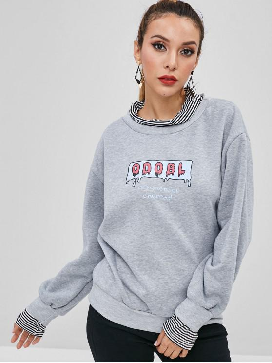 shops Striped Letter Graphic Faux Twinset Sweatshirt - LIGHT GRAY XL