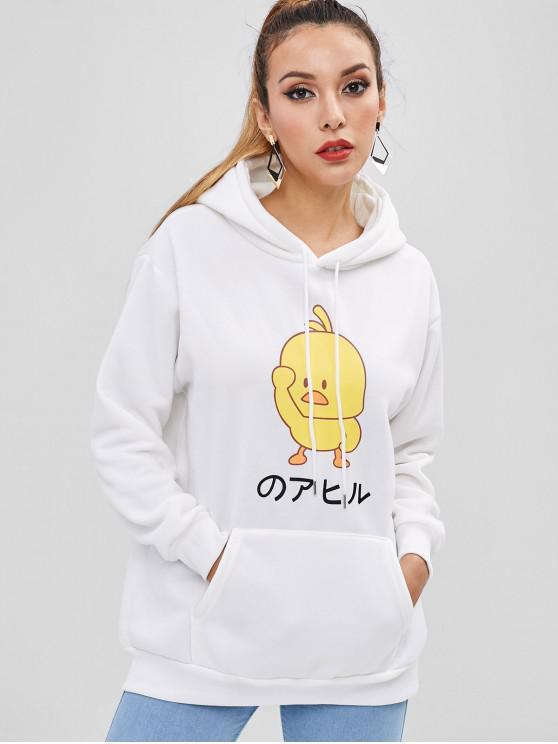 trendy Kangaroo Pocket Chick Graphic Hoodie - MILK WHITE L