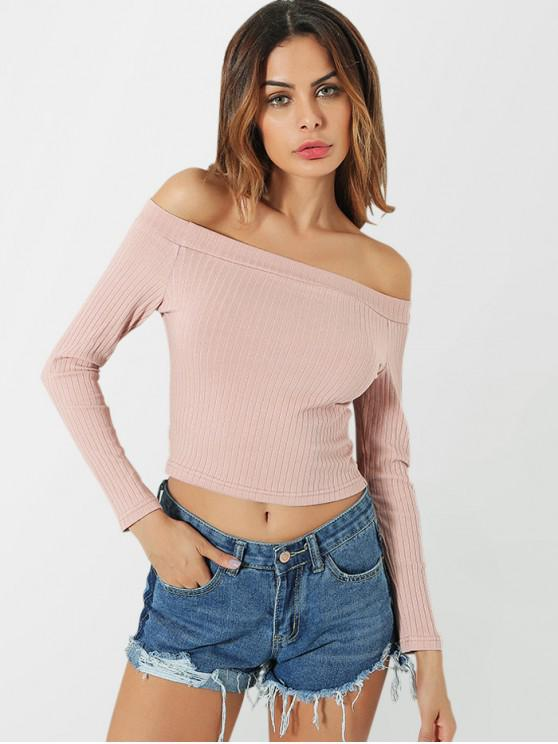 hot Knitted Off Shoulder Crop Tee - PINK S