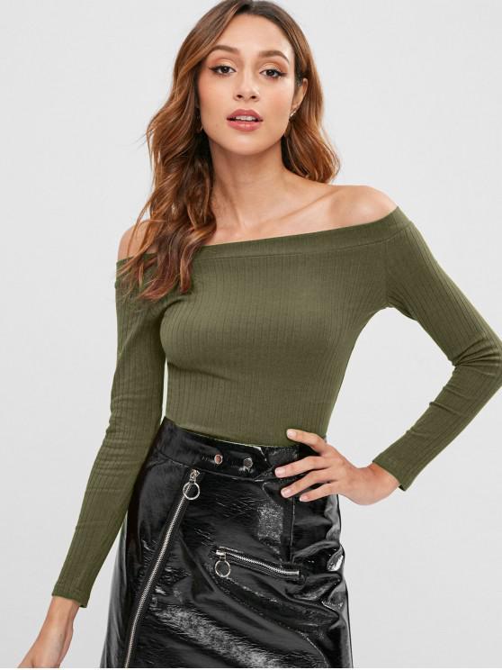 ladies Knitted Off Shoulder Crop Tee - ARMY GREEN M