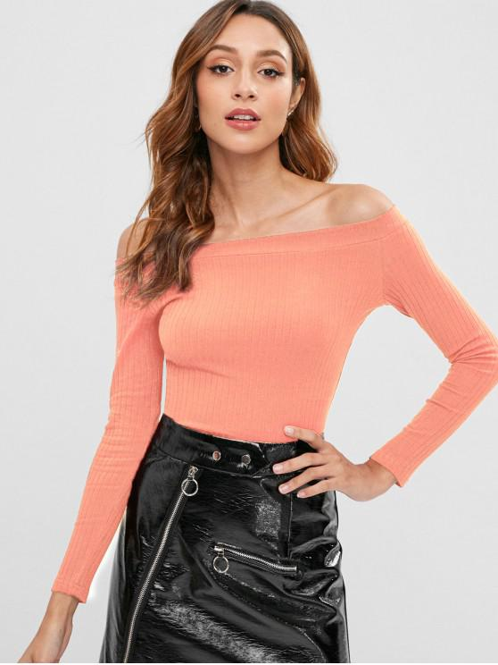 online Knitted Off Shoulder Crop Tee - LIGHT SALMON M