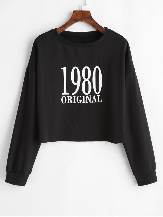 trendy 1980 Original Graphic Sweatshirt - BLACK L