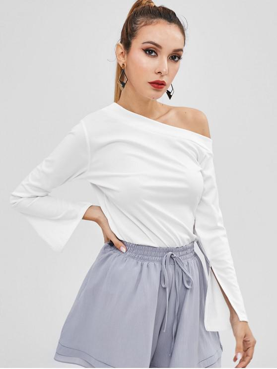 2a1a05ee 31% OFF] 2019 Long Sleeve One Shoulder Top In WHITE | ZAFUL