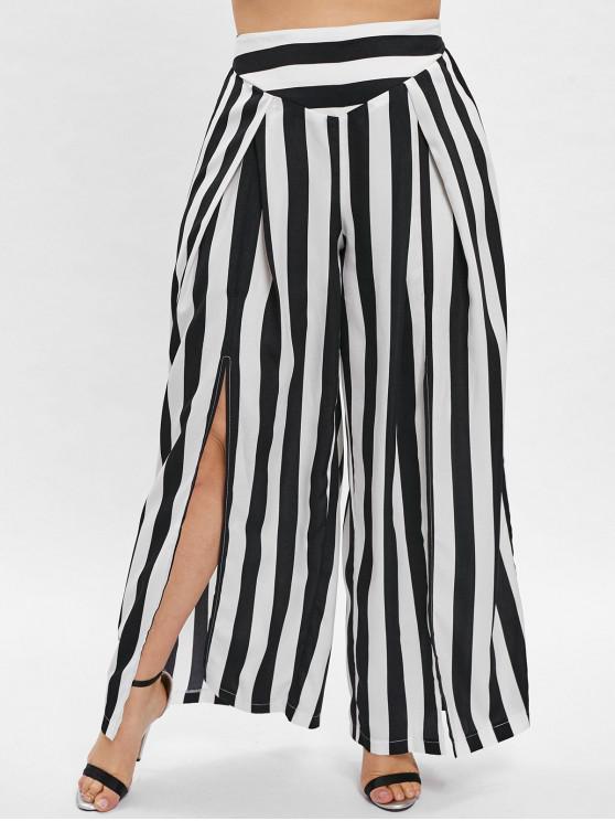 sale ZAFUL Striped Plus Size Split Wide Leg Pants - BLACK 1X