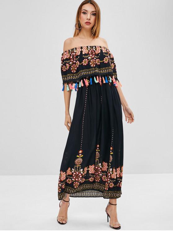 new Overlay Printed Tassels Off Shoulder Dress - BLACK M