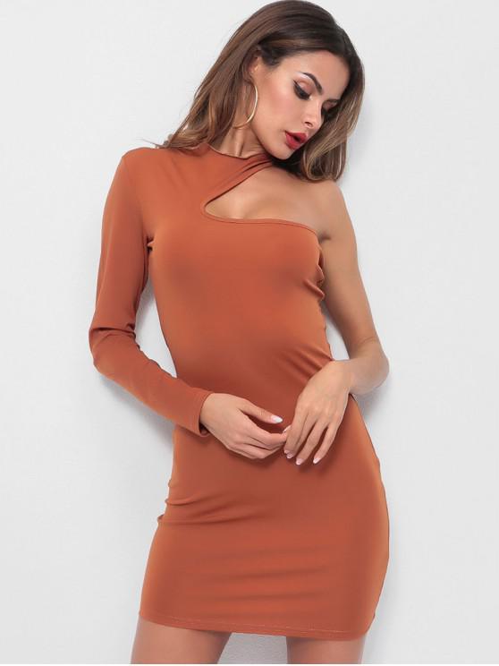 Vestito Aderente In Tinta Unita A Monospalla - Arancione Tigre S