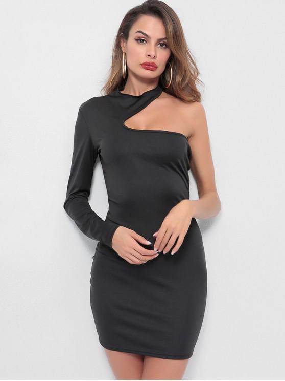 women's One Shoulder Plain Bodycon Dress - BLACK M
