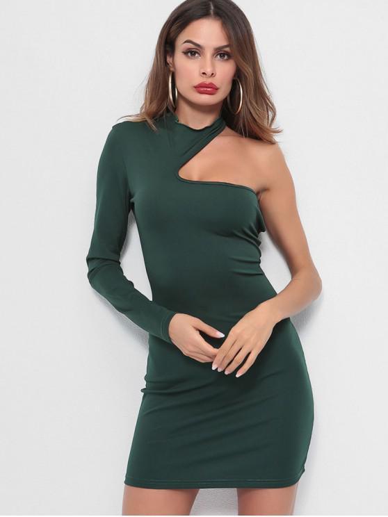 women's One Shoulder Plain Bodycon Dress - MEDIUM SEA GREEN M