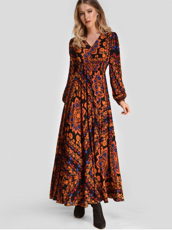 outfit ZAFUL Long Sleeve Floral Maxi Boho Dress - MULTI M