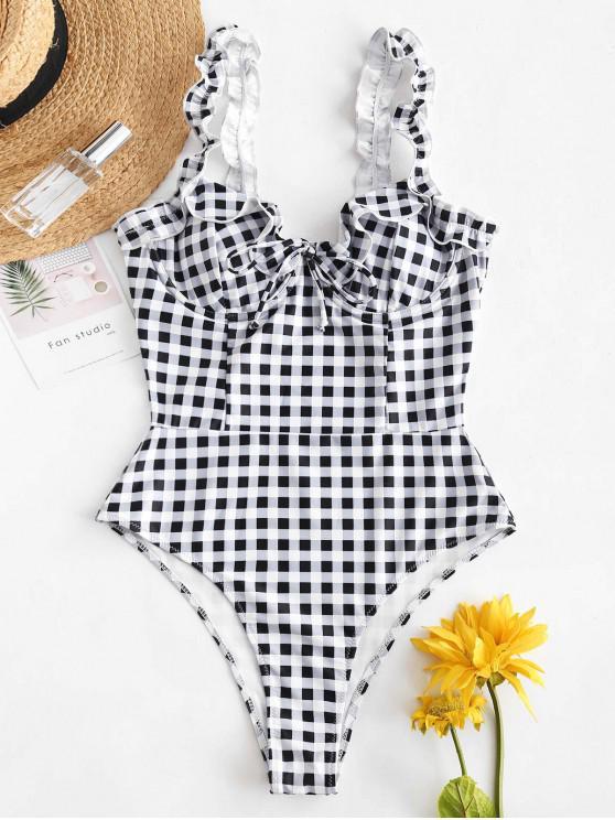 shop ZAFUL Plaid Ruffle Swimsuit - MULTI-A M