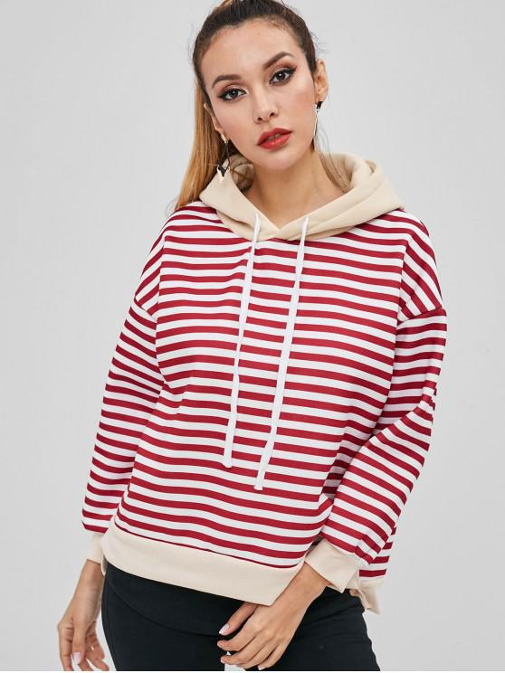 trendy Striped Contrast High Low Hoodie - RED WINE 2XL