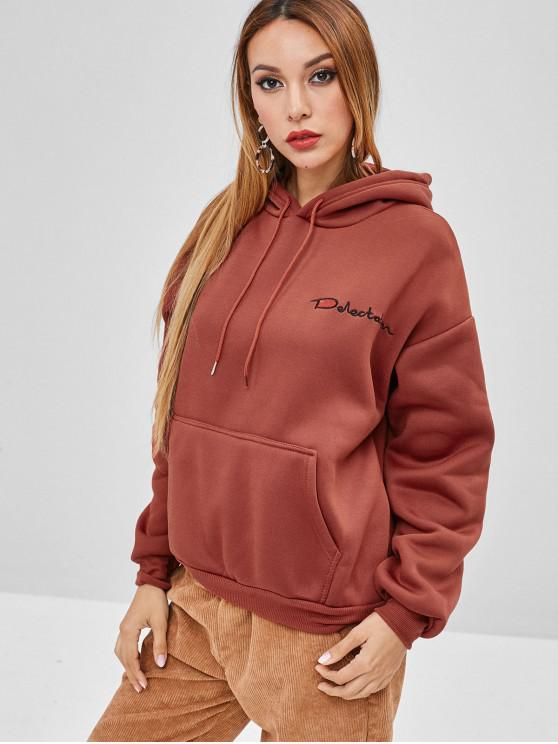 best Letter Embroidered Front Pocket Loose Hoodie - CHESTNUT RED L